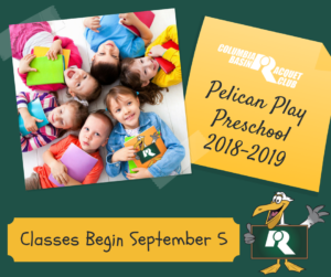 Pelican Play Preschool 2018-2019 begins September 5